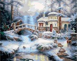 Рисуване по номера - Къщичка в снега - Комплект за картина с размери 50 x 40 cm