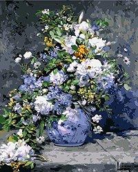 Рисуване по номера - Ваза с цветя - Комплект за картина с размери 50 x 40 cm