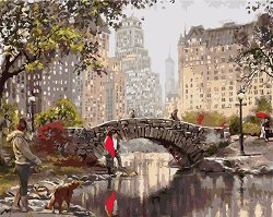 Рисуване по номера - Разходка в парка - Комплект за картина с размери 50 x 40 cm