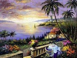 Рисуване по номера - Морски залез - Комплект за картина с размери 50 x 40 cm