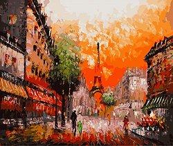 Рисуване по номера - Улица в Париж - Комплект за картина с размери 50 x 40 cm