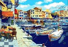 Рисуване по номера - Крайбрежно кафене - Комплект за картина с размери 40 x 50 cm