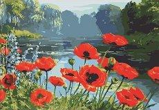 Рисуване по номера - Макове край реката - Комплект за картина с размери 40 x 50 cm