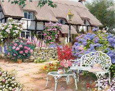 Рисуване по номера - В градината - Комплект за картина с размери 40 x 50 cm