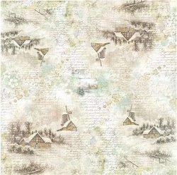 Декупажна хартия - Зимни къщи - Размери 50 x 50 cm