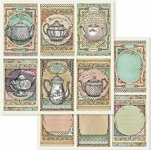 Хартии за скрапбукинг - Чайници - Размери 30.5 х 30.5 cm