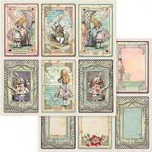 Хартии за скрапбукинг - Алиса в страната на чудесата - Размери 30.5 х 30.5 cm