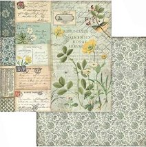 Хартии за скрапбукинг - Цветя, надписи и орнаменти - Размери 30.5 х 30.5 cm