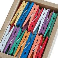 Цветни дървени щипки - Комплект от 50 броя с дължина 72 mm