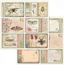 Хартии за скрапбукинг - Пролетни цветя и насекоми - Размери 30.5 х 30.5 cm