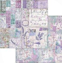Хартии за скрапбукинг - Лилави цветове и надписи - Размери 30.5 х 30.5 cm
