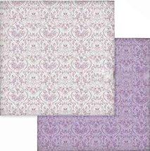 Хартии за скрапбукинг - Лилави орнаменти - Размери 30.5 х 30.5 cm