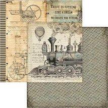 Хартии за скрапбукинг - Влак - Размери 30.5 х 30.5 cm