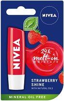 Nivea Strawberry Shine Lip Balm - Балсам за устни с аромат на ягода -
