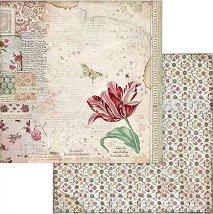 Хартии за скрапбукинг - Лале - Размери 30.5 х 30.5 cm