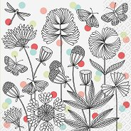 Салфетки за декупаж - Черно-бели цветя - Пакет от 20 броя