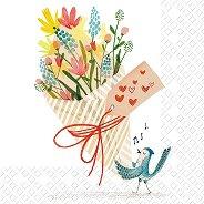 Салфетки за декупаж - Птиче с букет - Пакет от 20 броя