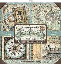 Хартии за скрапбукинг - Антично пътуване - Комплект от 22 броя с размери 30.5 x 30.5 cm