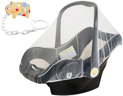 Универсална мрежа против комари - Аксесоар за бебешко кошче за кола + подарък клипс за залъгалка -