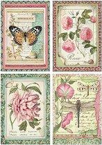 Декупажна хартия - Цветя и насекоми - Формат А4