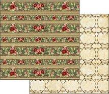 Хартии за скрапбукинг - Червени цветя - Размери 30.5 х 30.5 cm