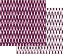 Хартии за скрапбукинг - Лилави сърца - Размери 30.5 х 30.5 cm