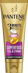 Pantene 3 Minute Miracle Superfood Full & Strong Conditioner - Балсам за обем за слаба и тънка коса - спирала
