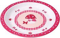 Детска меламинова чиния за хранене - Mushroom Magenta - За бебета над 6 месеца - продукт