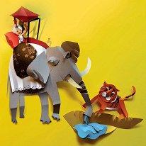 Поздравителна картичка - Слон и тигър -