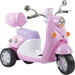 Детски акумулаторен скутер - QIKE - С багажник и 3 колела -