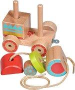 Локомотив - Дървена играчка за нанизване, дърпане и бутане - играчка