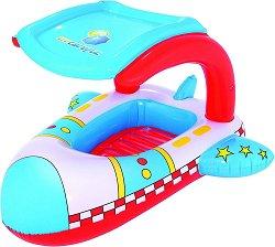 Надуваема детска лодка със сенник с UV защита - Ракета - С дължина 102 cm -