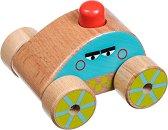 Количка с клаксон - Дървена бебешка играчка за бутане -