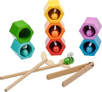 Хвани пчеличките - Образователен комплект за сортиране от дърво -