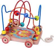 Лабиринт на колела - Лъвче - Дървена играчка за дърпане -
