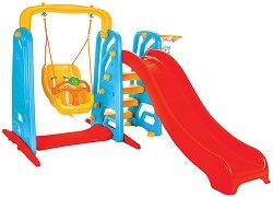 Детска пързалка с люлка и баскетболен кош - Wavy - играчка