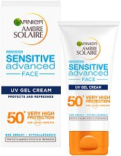 Garnier Ambre Solaire Sensitive Advanced Face Gel Cream - SPF 50+ - Слънцезащитен гел крем за лице и деколте за чувствителна кожа - продукт