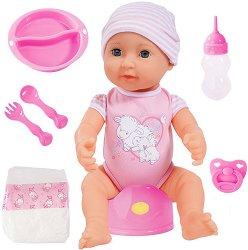 Пишкаща кукла бебе - Piccolina - В комплект с аксесоари - играчка