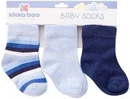 Бебешки памучни чорапи - Stripes - Комплект от 3 чифта -