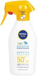 "Nivea Sun Kids Sensitive Protect & Care Spray - SPF 50+ - Детски слънцезащитен спрей с помпа от серията ""Sun"" - шампоан"