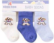Бебешки памучни чорапи - Puppy - Комплект от 3 чифта - пюре