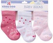 Бебешки памучни чорапи - Dots - Комплект от 3 чифта - продукт