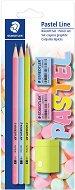 Графитни моливи HB - Pastel Line - Комплект от 3 броя, гумички и острилка