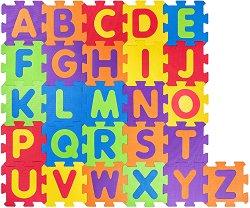 Английска азбука - Детски образователен пъзел-килим с меки елементи - пъзел