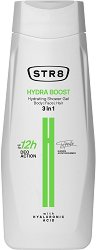 STR8 Hydra Boost Hydrating Shower Gel 3 in 1 - Хидратиращ душ гел за мъже за тяло, лице и коса с хиалурон - шампоан