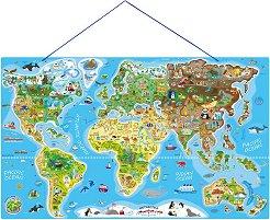 Карта на света - 2 в 1 - Дървен пъзел с магнитни части -