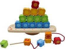 Цветове, форми и числа - Oбразователна играчка за нанизване от дърво -
