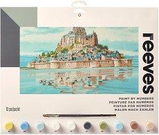 Рисуване по номера - Мон Сен Мишел - Комплект за картина с размери 30 x 40 cm