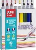 Флумастери с двоен писец - Stripes - Комплект от 8 цвята