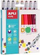 Флумастери - Dots - Комплект от 8 цвята